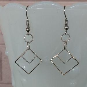 Square Silver Tone Diamond Cut Earrings